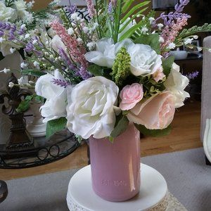 Boutique Accents - VINTAGE Inspired ROSE Mason JAR Floral DECOR